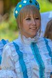 在传统捷克服装打扮的年轻女人 图库摄影