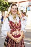 在传统撒丁岛服装的画象 库存图片