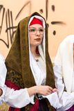 在传统撒丁岛服装的画象 免版税库存照片