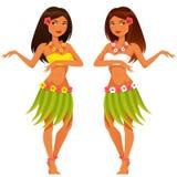 在传统服装的夏威夷女孩跳舞 库存图片