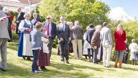 在传统服装的挪威人 库存图片