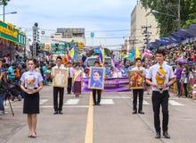 在传统游行的泰国样式在Ubon蜡烛节日2015年 免版税图库摄影