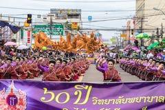 在传统游行的泰国样式在Ubon蜡烛节日2015年 库存照片