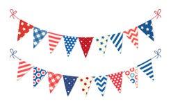 在传统颜色理想的逗人喜爱的美国欢乐旗布旗子作为美国假日横幅 皇族释放例证