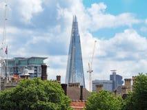 在伦敦地平线的碎片,高楼在英国,夏天2016年 免版税库存图片