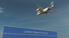 在伦敦格域机场3D翻译的商业飞机着陆 免版税库存图片