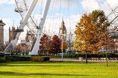 在伦敦生动描述的伦敦眼弗累斯大转轮,英国 修造, 135m高和用轮直径120m,在1999年它是talle 免版税图库摄影