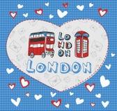 在伦敦题材的明信片  图库摄影