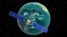 在似人地球背景的虚构的卫星  向量例证