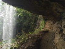 在位于哥斯达黎加的瀑布下,那里` s魔术在这个地方,包围由雨林 图库摄影