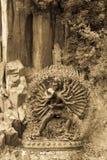在位于山的礼节容忍的神秘的神雕象g 库存照片