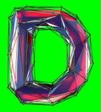在低多在绿色背景隔绝的样式红颜色的资本拉丁字母D 库存图片