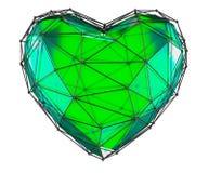 在低多样式绿色做的心脏被隔绝在白色背景 3d 图库摄影