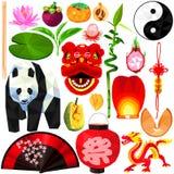 在低多设计的中国文化集合 皇族释放例证
