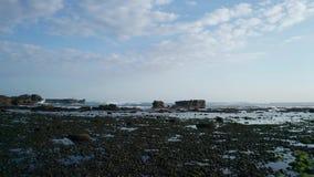 在低潮海滩和海的鸟瞰图飞行有岩石的在巴厘岛 股票录像