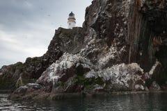 在低音岩石的灯塔   库存图片