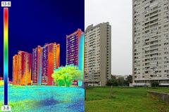 在住宅building_11的红外和实象 库存照片