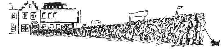 在住房块前面的人群与横幅和旗子 免版税库存图片