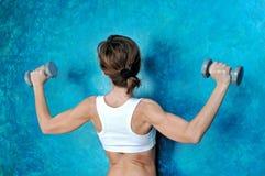 在体育健身女孩的背面图有哑铃的 库存图片