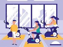 在体育健身房的人乘坐的转动的自行车 向量例证