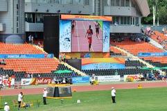 在体育场的大屏幕 免版税图库摄影