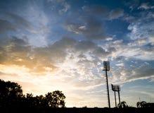 在体育场的日落 库存照片