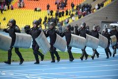 在体育场的警察 图库摄影
