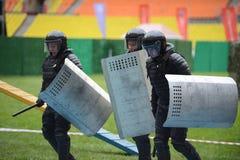 在体育场的警察 免版税库存照片