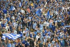 在体育场的足球迷 免版税库存照片
