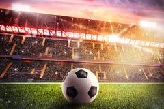 在体育场的Soccerball 免版税库存图片