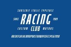 在体育样式的狭窄的斜体的Sans Serif字体 向量例证