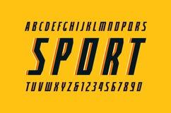 在体育样式的装饰狭窄的斜体的Sans Serif字体 向量例证