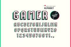 在体育样式的装饰Sans Serif大块字体 向量例证