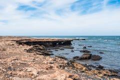 在佛得角- Cabo Verde的狂放的Boavista海岛海岸 库存图片