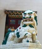 在佛教寺庙入口的一头监护人狮子 免版税图库摄影