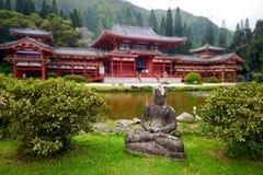 在佛教寺庙前面的灰色菩萨雕象 免版税库存照片