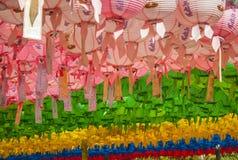 在佛教寺庙的纸灯,韩国 库存图片