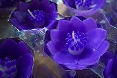 在佛教寺庙的莲花蜡烛 库存照片