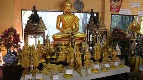 在佛教寺庙里面的金黄菩萨雕象 影视素材