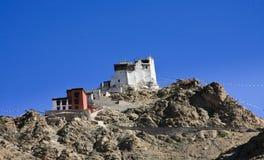 在佛教徒修道院, Leh,拉达克,印度的废墟 库存照片