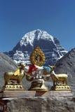 在佛教徒修道院Driraphuk gompa屋顶的Dharmachakra  库存照片