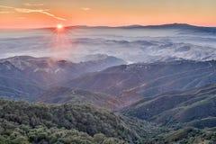 在佛瑞蒙峰顶国家公园的日落 免版税库存照片