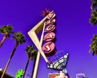 在佛瑞蒙的老维加斯霓虹灯广告 库存图片