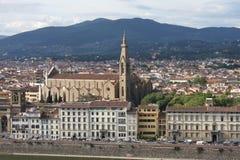 在佛罗伦萨意大利的VPanoramic视图有城市河的,托斯卡纳,意大利 图库摄影