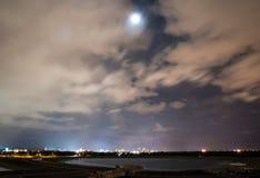 在佛罗里达湖的满天星斗的月光 库存图片