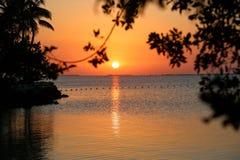 在佛罗里达钥匙的美好的日落 免版税库存照片