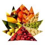 在作为一个被打开的爱好者被安排的三角里面的水果的纹理 库存照片