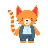 在作为小男孩穿戴的白色上面和背心逗人喜爱的玩具小动物的红色猫 免版税图库摄影