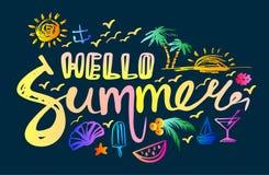 在你好夏天上写字 库存图片