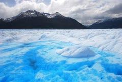 在佩里托美利奴绵羊的冰川内的湖在巴塔哥尼亚 免版税库存照片